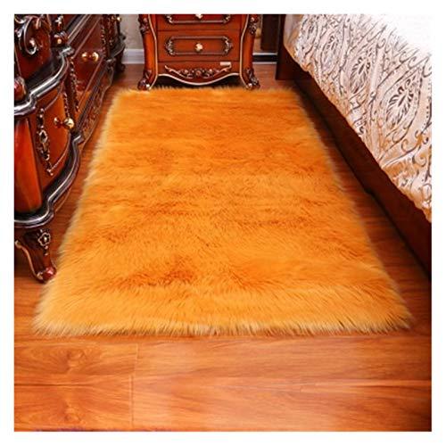 LLZY Teppichmatte Massive Teppich Wohnzimmer künstliche Haut Rechteck Flauschige Matte Pad Anti-Rutsch-Stuhl Sofa-Cover-Plain-Bereich Teppiche (Farbe : Orange, Größe : 80x150cm)
