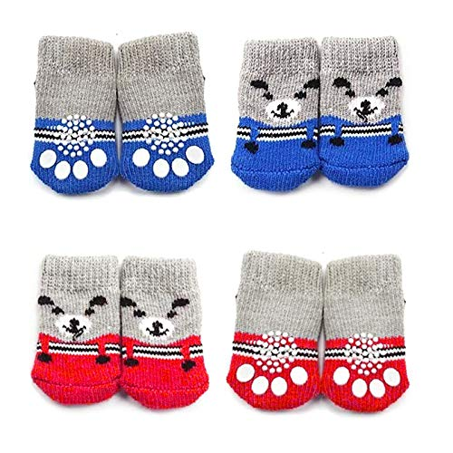 ASFINS Calcetines para Perros, 8 Piezas Protector Patas Perro Calcetines Perro Antideslizantes Gatos para Uso en Interior, Patrón de Oso (M)