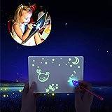 bestbeans Licht Zauber Maltafel + UV Lampe + Geheimstift - pädagogische leuchtendes Zeichenbrett im Dunkeln leuchten Zauber malen Zeichen-Tafel Geheimschrift