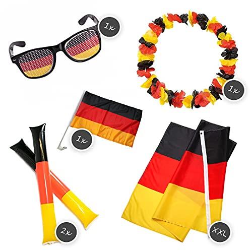 SicurezzaPrima Fan-Set Deutschland – Best of Fanartikel für die Fussball Europameisterschaft EM 2021 in Europa - Deutschland Flagge Fahne, Autofahnen, Sonnenrbrille, Hawaii Kette, Cheering Sticks