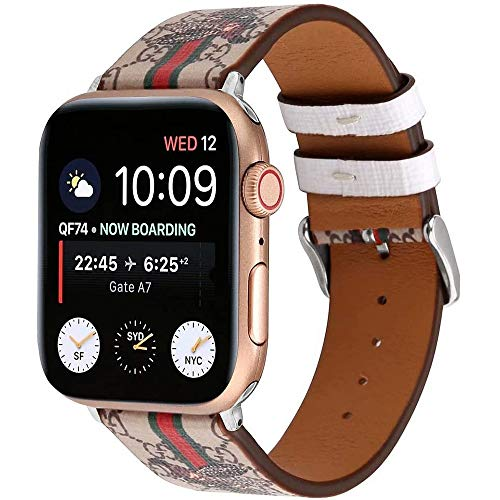 Quteck Compatible with iWatch Band 38mm 40mm, Luxury Fashion Leather Band Design Compatible with Apple Watch Series 5 4 3 2 1 38mm 40mm, Light Gray