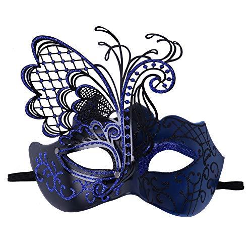 iEFiEL Máscara de Encaje Mascarada Veneciano Antifaz Sexy Máscara de Mujeres para Halloween Masquerade Carnival Party Costume Ball Fiesta de Baile Bar Partya Azul OneSize
