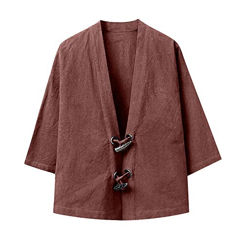 QBQCBB Men Japanese Yukata Casual Coat Kimono Outwear Cotton Loose 3/4 Sleeve Top (Coffee,XXL)