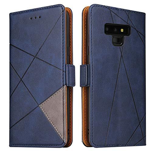 BININIBI Handyhülle für Samsung Note 9 Hülle, Galaxy Note 9 Lederhülle Handytasche, Klapphülle Tasche Leder Schutzhülle für Samsung Galalxy Note 9, Blau