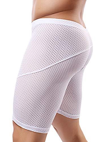 MIZOK Mens Workout Shorts Mesh Tight Bodybuilding Gym Short Pants (White,US L/Tag XL)