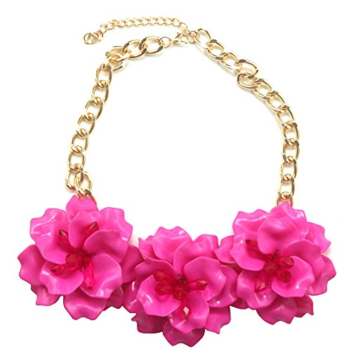 Claire Jin Collares Flores Cadena Corto Gargantilla Collar Mujer Joyería Flor Accesorio de Fiesta 12 Colores (Fucsia)