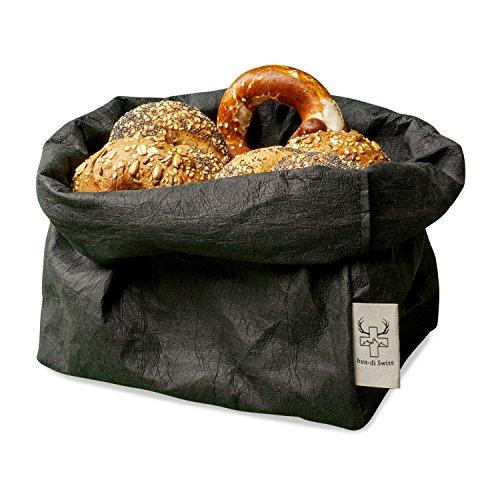 bun-di Swiss KREMPELBOX XL als Großer Brotkorb, Obstkorb, Deko-Übertopf, Utensilo, Aufbewahrungskorb, Geschenkbox - Waschbares Papier mit Lederoptik / Veganes Leder Reißfest - 20cm Ø - Schwarz