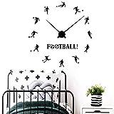 Reloj de fútbol pegatinas de pared niños niñas decoración de dormitorio de niñas dibujos animados fútbol deportes vinilo pared calcomanías decoración del hogar