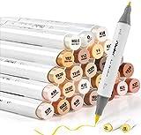 24 rotuladores a base de alcohol de tonos de piel Ohuhu. Rotuladores para dibujar y colorear con doble punta fina y gruesa a base de alcohol ilustración, de medio tono y tonos de cabello