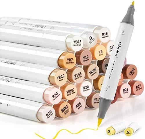 24 Hauttonfarben Alkohol-Filzstifte, Ohuhu Pinsel & Fine, Sketch Kunst Marker auf Alkoholbasis für Kinder und Erwachsene, Illustration, Mittelton-Hautton- und Haarschattierungs-Marker Set