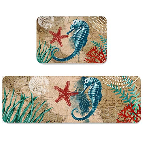 Kitchen Area Rug Runner Set 2 Piece Comfort Soft Floor Doormats Nautical Animal Map Non Slip Bathroom Rugs for Home Decorative Seahorse Starfish and Coral