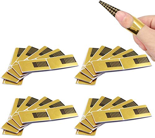 ShengRuHai Nagel Schablonen, Modellier-Schablone selbstklebend für Gel Nägel & Nagel Verlängerung Golden Schablonen (200 Stück)