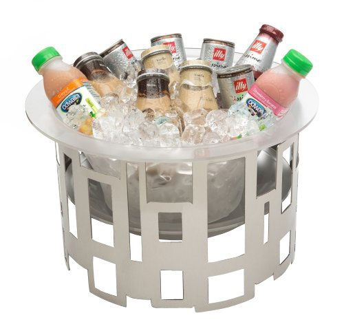 Rosseto SM183 10-Inch Tall Stainless Steel Round Ice Tub with Frosted Acrylic Ice Bath and Drip Tray Insert