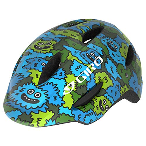 Giro Unisex Jugend Scamp Fahrradhelm Youth, Blue/Green Creature camo, S | 49-53cm
