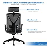 INTEY Bürostuhl Schreibtischstuhl ergonomischer Drehstuhl mit verstellbare Kopfstütze und Armlehnen, Höhenverstellung und Wippfunktion für Soho- oder Büroarbeit, Belastbar bis 150kg - 2