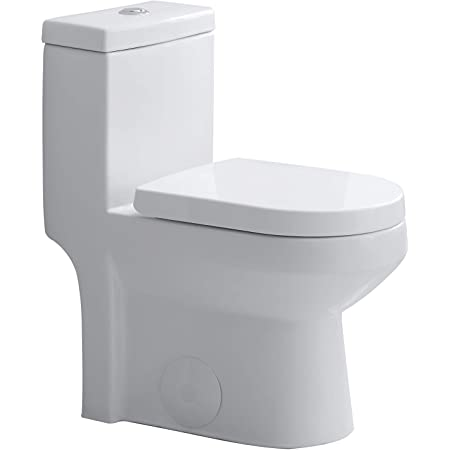 "HOROW HWMT-8733 Small Toilet 25"" Long x 13.4"" Wide x 28.4"" High One Piece Short Compact Bathroom Tiny Mini Commode Water Closet Dual Flush Concealed Trapway"