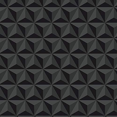 Papel De Parede Triângulos 3D Escuro Para Sala Quarto Com Laminação