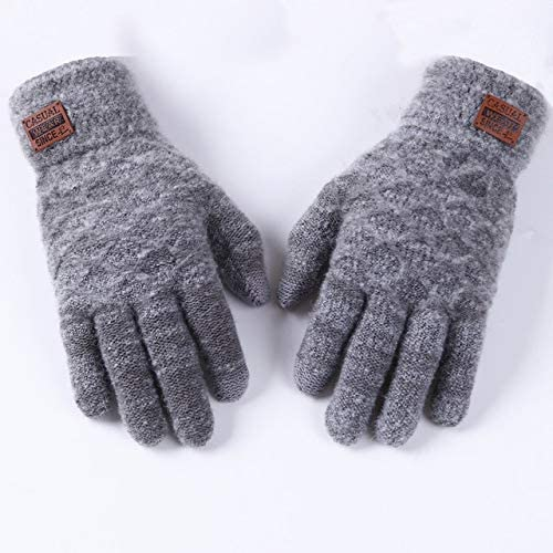 Gloves Men Solid Simple Soft All-Match Korean Style Leisure Warm Winter Bicycle Mittens Mens Fashion Handschoenen - (Color: Gray, Gloves Size: One Size)