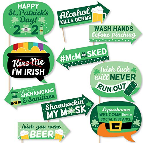 Big Dot of Happiness Funny Quarantine St. Patrick's Day - 2021 Saint Patty's Party Photo Booth Props Kit - 10 Piece