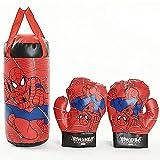 St.mary Set de Boxeo Spiderman, Conjunto de Bolsa de Guantes de perforación para niños, Juguetes de Entrenamiento Deportivo, Juguetes de Entrenamiento de Boxeo de interacción de Dibujos Animados
