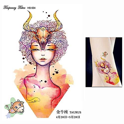 Pegatinas De Tatuajes Temporales,Doce Constelaciones Taurus 5Pcs 14.8X21Cm Mujeres Hombres Mujer Arte Corporal Adultos Impermeable Mano Falso Impermeable Extraíble Negro Pegatinas De Arte