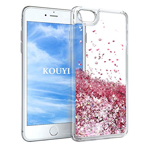 KOUYI Funda iPhone 6S/6 Plus, Brillo Liquida Claro 3D Bling Cubierta Flowing Liquid diseño TPU Fundas Case Telefono Movil Smartphone Carcasas para Apple iPhone 6S Plus/iPhone 6 Plus (Oro Rosa)