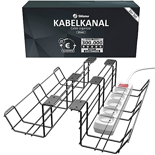 Raccogli Cavi Scrivania di Stilemo - Set da 2 Portacavi sotto Scrivania Super Robusti per Cavi Ordinati, in Acciaio al Carbonio, fino a 10 kg - Organizzatore di Cavi - Ideale per Casa & Ufficio