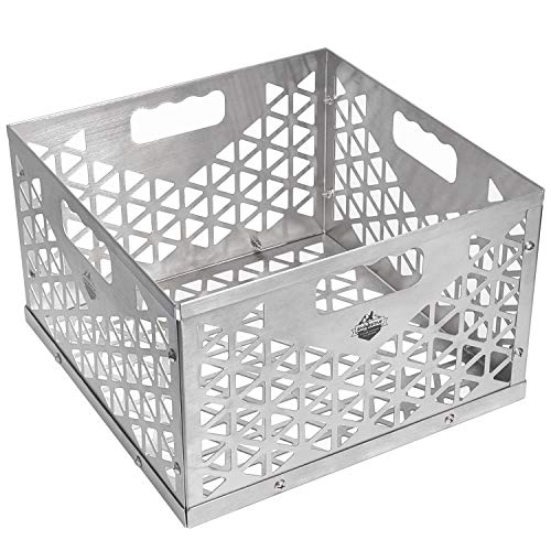 SHINESTAR Charcoal Basket, Firebox Basket for Oklahoma Joes Smoker, Highland. BBQ Smoker Accessories for Most Offset Smoker Grill, Stainless Steel Charcoal Box - 12 W x 12 D x 7.5 H