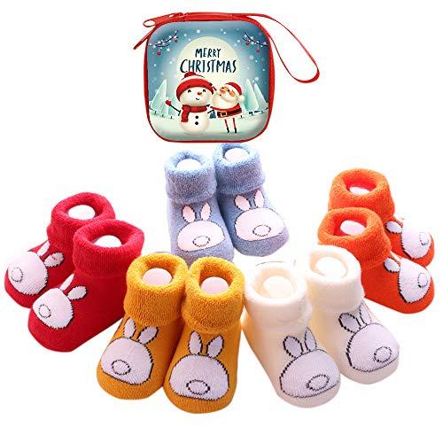 Sweetneed 5 Pares Calcetines Recien Nacido niño Calcetines de recién nacido Calcetines bebe niña Invierno 0-36 Meses