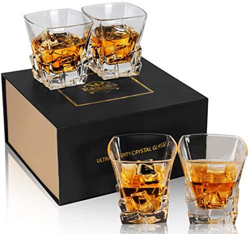 KANARS Juego de 4 Vasos de Whisky, Vaso de Whisky 100% Cristal...