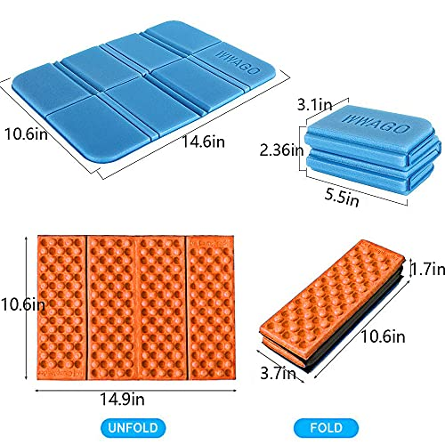 Insulated Folding Foam Sit Mat, 4Pcs Waterproof Moisture-Proof Pad, Portable Seat Cushion Mat Thermal Seat Pad for Outdoor Camping Park Picnic Hiking Playground (2 Styles)