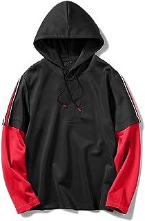 qianqianq Mens Sweatshirt Sport Two Pieces Stripes Plus-Size Hooded Sweatshirt