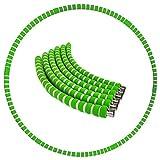 Aro de hula hoop para adultos, se utiliza para la pérdida de peso y masaje, 6 segmentos desmontables, adecuado para fitness, casa, oficina, moldeación del abdomen (verde gris)