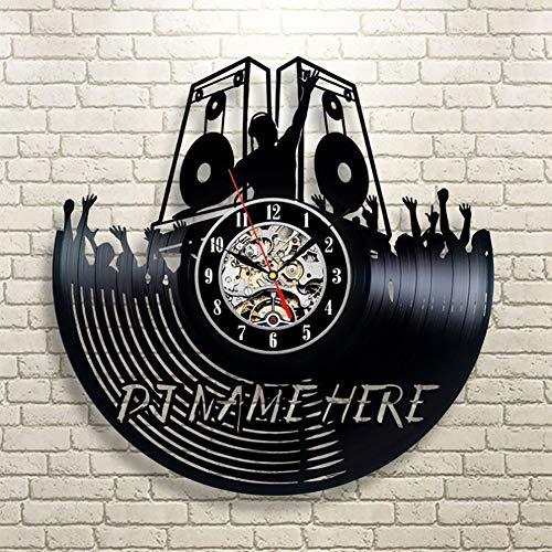 PDXGZ Personalisierte Große DJ Name Geschenk Vinyl Wanduhr Mit Kostenloser Gravur Vinyl-Uhr Upcycling Design Uhr Wand-Deko Vintage-Uhr Wand-Dekoration Retro-Uhr