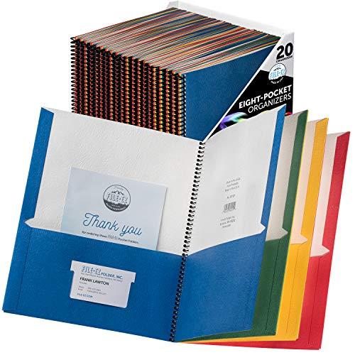 FILEEZ 8Pocket Folder Organizers Assorted Colors 20Pack Durable Textured Paper with Matte Finish Letter Sheet Size EZ12000