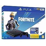 Sony PlayStation 4 Slim 500 Go + voucher Fortnite, Avec 1 manette sans fil DUALSHOCK 4 V2, Châssis F, Noir (Jet Black)