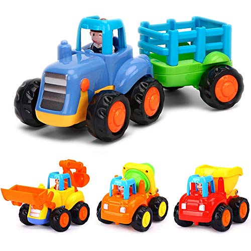 Yiosion Push and Go Friction Powered Tractor Cars Construction Vehicles Toy Set