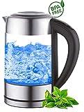 Glas Wasserkocher 1,7 Liter | 2200 Watt | Edelstahl mit...