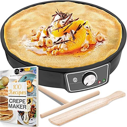 "Crepe Maker Machine (Lifetime Warranty), Pancake Griddle – Nonstick 12"" Electric Griddle – Pancake Maker, Batter Spreader, Wooden Spatula – Crepe Pan for Roti, Tortilla, Blintzes – Portable, Compact, Easy Clean"
