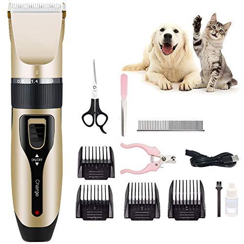 Fitlife Leise Tierhaarschneidemaschine Wiederaufladbare Hundeschermaschine Elektrische Schermaschine Hundetrimmer Kit Haustier Rasierer für Hund Katze Pudel, Perser Katze, etc