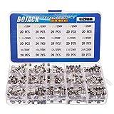 BOJACK 15 Valores 300 piezas Juego de surtido de fusibles de vidrio de fusión rápido 5x20mm 250V 0.1 0.2 0.25 0.5 1 1.5 2 3 4 5 8 10 12 15 20A Paquete en una caja de plástico transparente