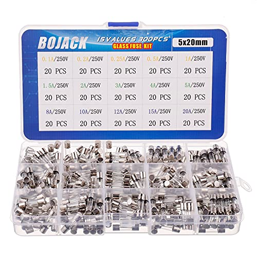 BOJACK 15 Values 300pcs Fast-Blow Glass Fuses Assortment Kit 5x20mm 250V 0.1 0.2 0.25 0.5 1 1.5 2 3 4 5 8 10 12 15 20A amp packag in a Clear Plastic Box