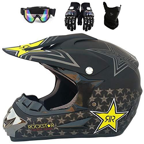 Herren Motocross Helm Rockstar,Schwarz Integralhelm ATV-Helm,Kinder MTB Helm mit Handschuhe+Brille+Maske (L (59-60 cm))