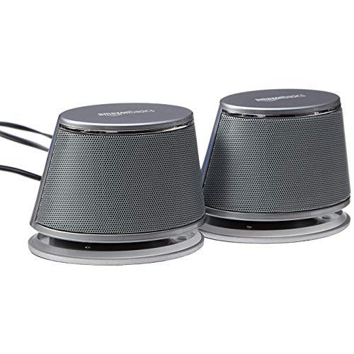 Amazon Basics - Altavoces de ordenador alimentados por USB con sonido dinámico | Plateado, juego de 1