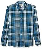 Marchio Amazon - Goodthreads, camicia in denim da uomo, vestibilità slim, a maniche lunghe, double-face, Sea Blue Green Tartan With Chambray, US M (EU M)