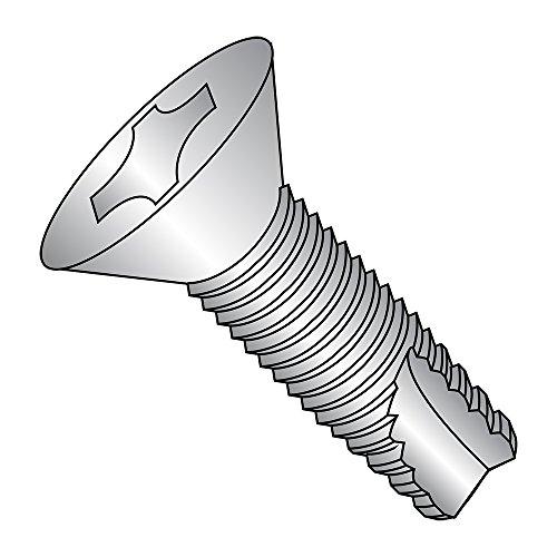 18-8 Stainless Steel Thread Cutting Screw, Plain Finish, 82 Degree Flat Head, Phillips Drive, Type 23, #10-24 Thread Size, 3/4