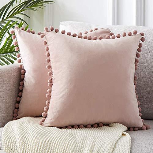 Fayeille Fundas de almohada decorativas con pompones de partículas suaves, cuadradas, fundas de cojín de lujo para sofá, dormitorio, coche, 45,7 x 45,7 cm, rosa claro