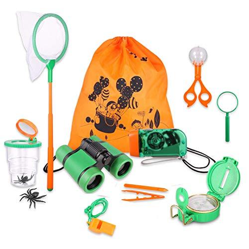 Giocattoli per Avventurose Esplorazioni della Natura per Bambino, Bambini Present Kids Binocolo Set per Campeggio Escursionismo Bug Catcher Pretend Play