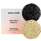 Esponjas faciales Konjac Grace & Stella con bambú y carbón de leña activado para la cara - Vegano - Esponja de baño facial para hombres y mujeres exfoliando la piel muerta, y el maquillaje