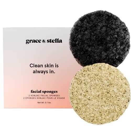 Esponjas faciales Konjac Grace & Stella con bamb y carbn de lea activado para la cara - Vegano - Esponja de bao facial para hombres y mujeres exfoliando la piel muerta, y el maquillaje